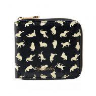 Depa-Garden 猫柄ラウンド二つ折り財布 -ブラック